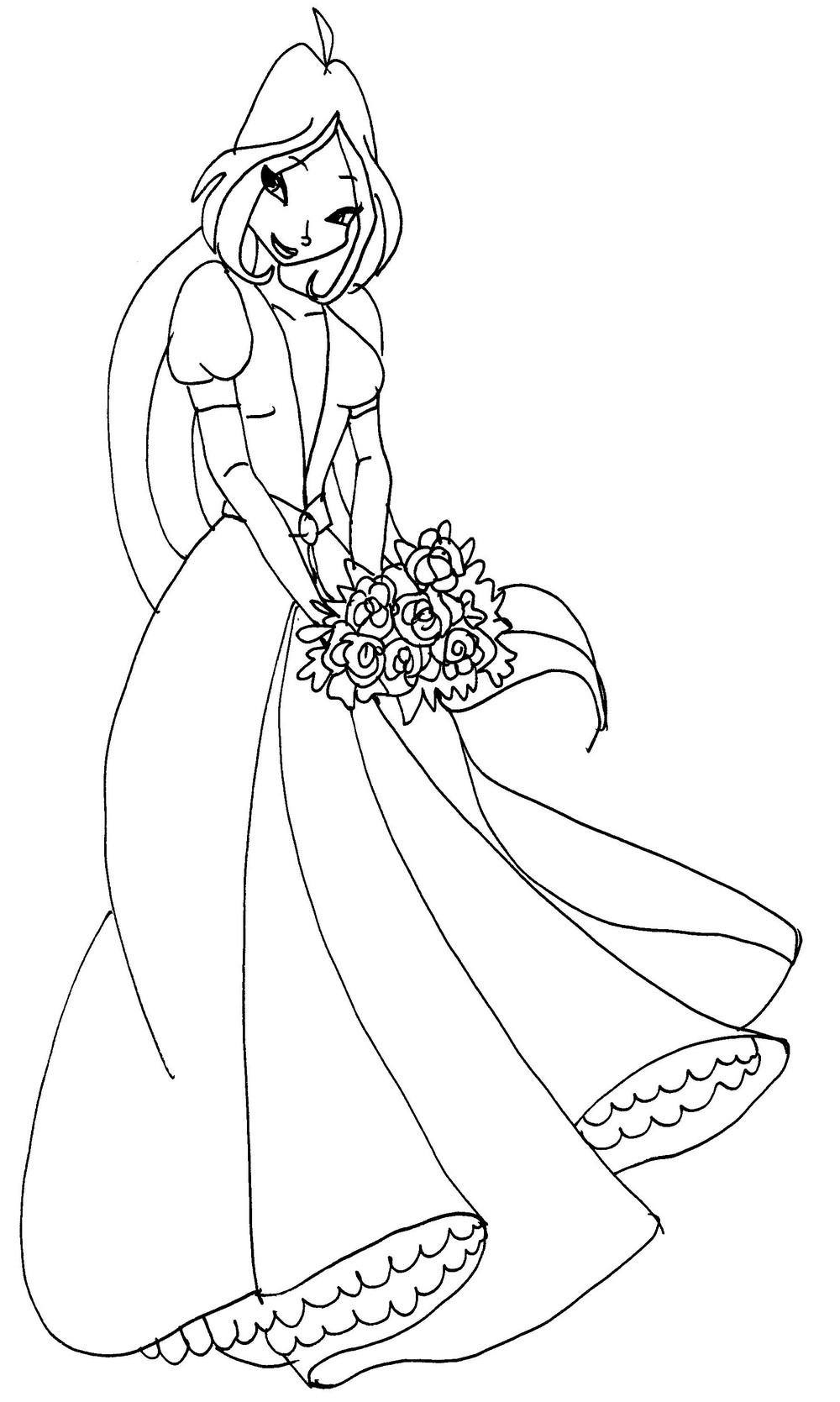 винкс невеста раскраска для девочек край друзей