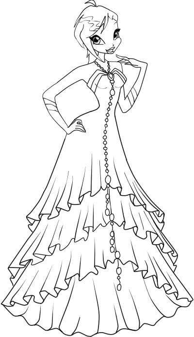 винкс в бальном платье раскраска для девочек край друзей