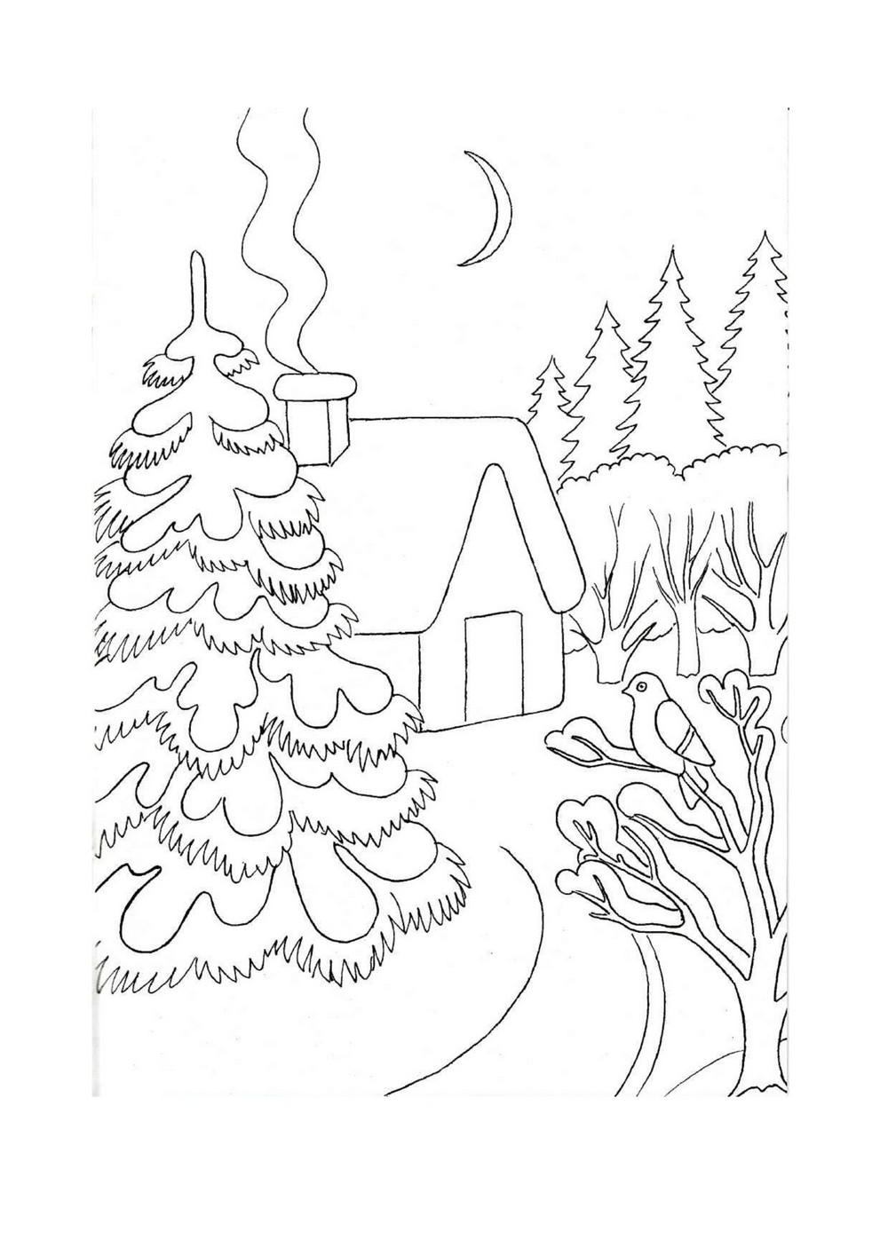 Раскраски зима для детей пейзажи