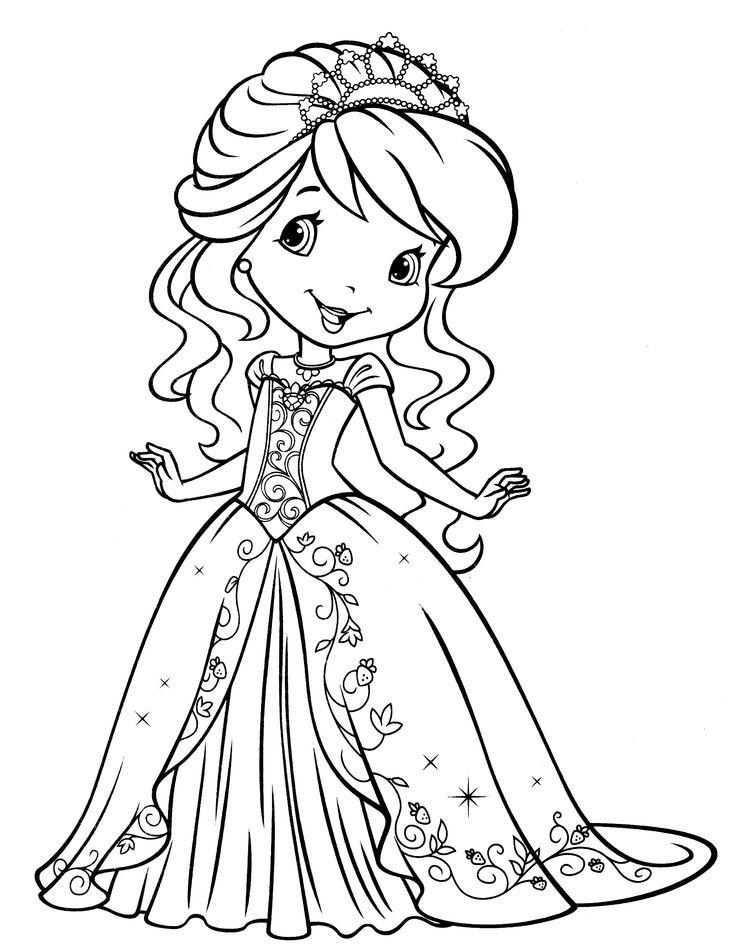 раскраска для девочек апельсинка в платье принцессы край