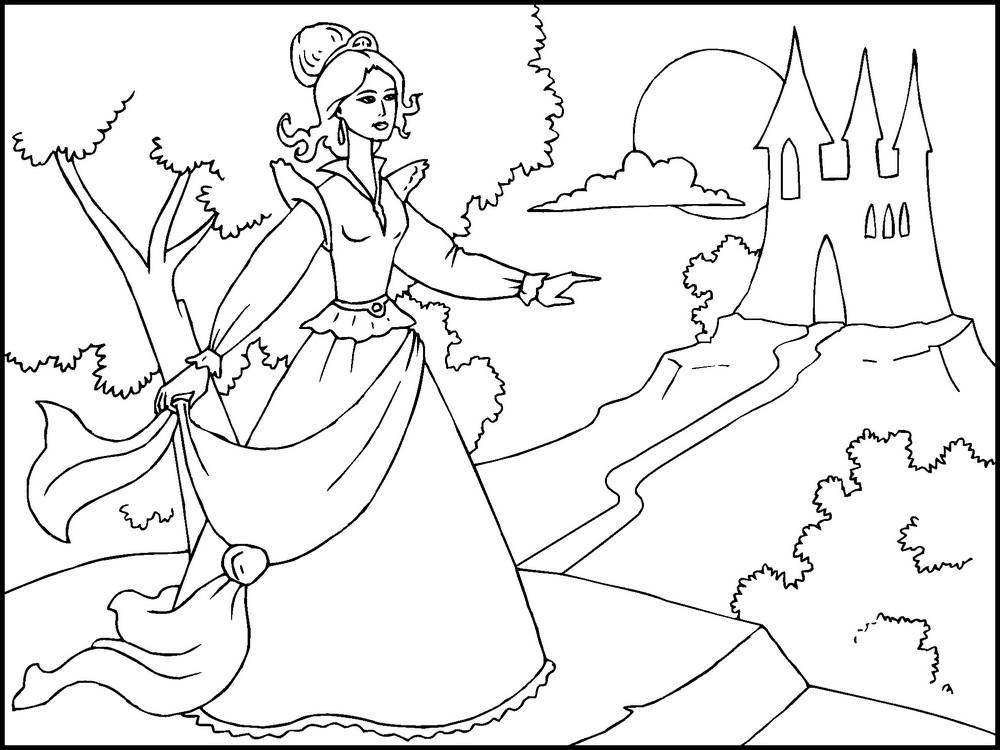 раскраска принцесса возвращается в замок для девочек