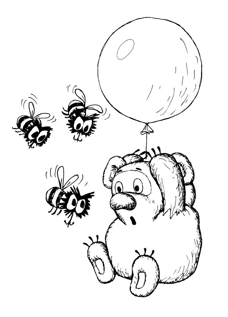 Раскраска Винни Пух на воздушном шарике летит за мёдом ...