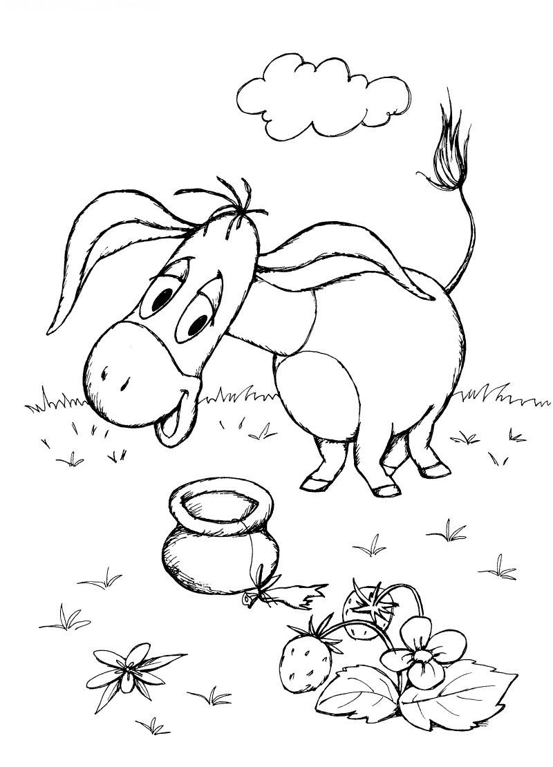 раскраска ослик иа с подарками из мультфильма винни пух