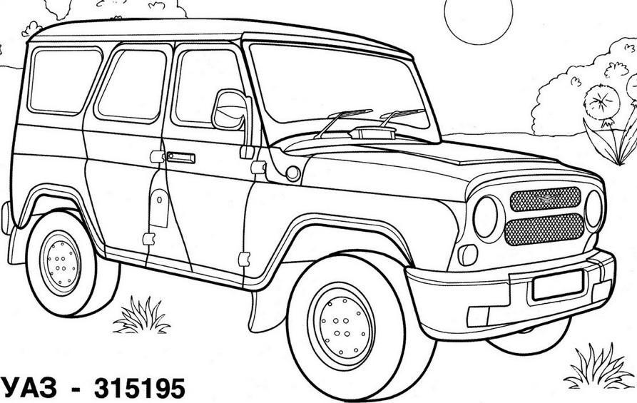 Раскраска Автомобиль УАЗ для мальчиков 4, 5 лет — Край друзей