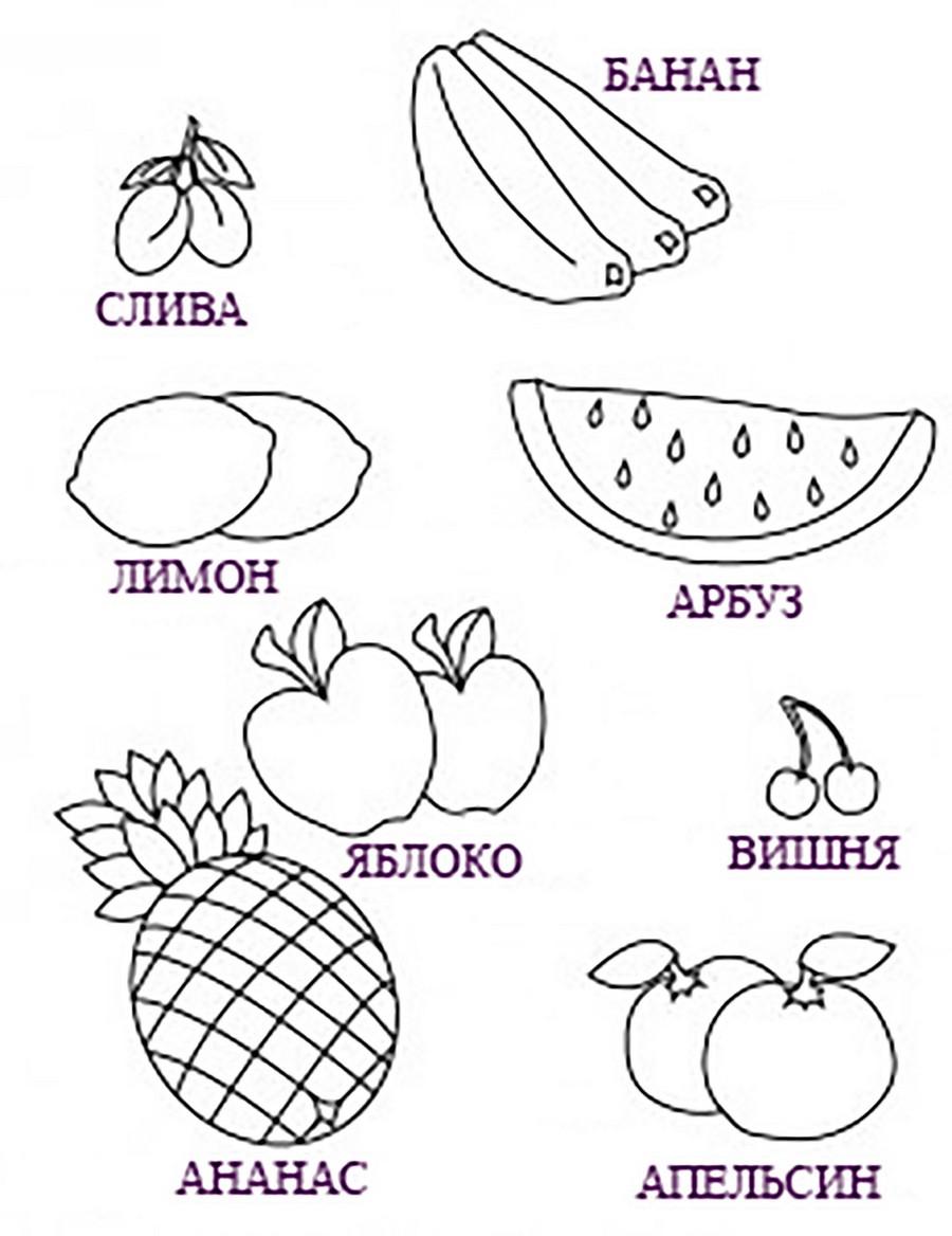 раскраска фрукты с подписями край друзей